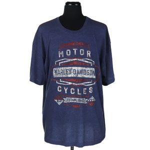 Men's Harley Davidson T-Shirt Blue/Orange Trim XXL